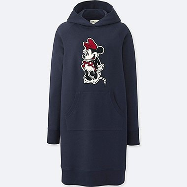 WOMEN MICKEY STANDS LONG-SLEEVE SWEATSHIRT DRESS, NAVY, medium