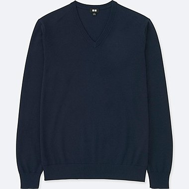MEN WASHABLE V-NECK LONG-SLEEVE SWEATER, NAVY, medium