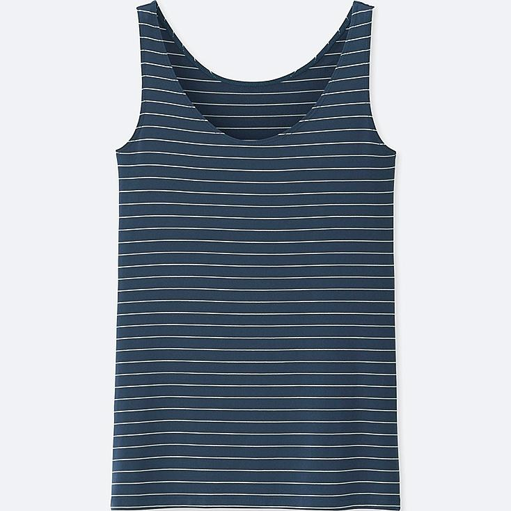 WOMEN AIRism STRIPED SLEEVELESS TOP, NAVY, large