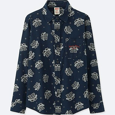 BOYS DISNEY FLANNEL LONG-SLEEVE SHIRT, NAVY, medium
