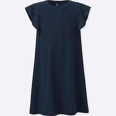 GIRLS LACE SLEEVELESS DRESS, NAVY, medium