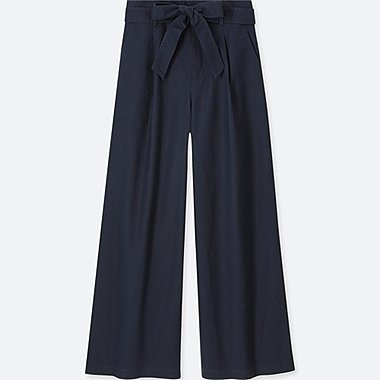 WOMEN BELTED LINEN COTTON WIDE PANTS, NAVY, medium