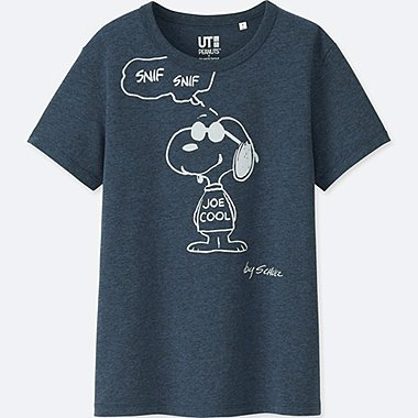 WOMEN PEANUTS SHORT-SLEEVE GRAPHIC T-SHIRT, NAVY, medium