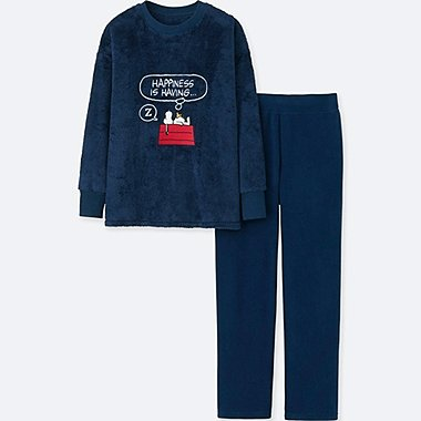 WOMEN LONG-SLEEVE PEANUTS FLEECE SET, NAVY, medium