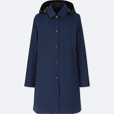 WOMEN BLOCKTECH SOUTIEN COLLAR COAT, NAVY, medium