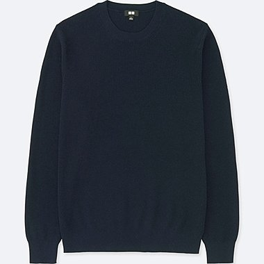 MEN COTTON CASHMERE CREWNECK LONG-SLEEVE SWEATER, NAVY, medium