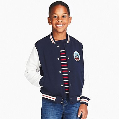 KIDS PEANUTS DRY SWEAT BLOUSON, NAVY, medium