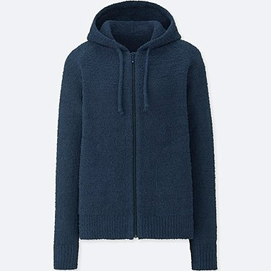 WOMEN FLUFFY YARN LOUNGE LONG SLEEVE HOODIE, NAVY, medium