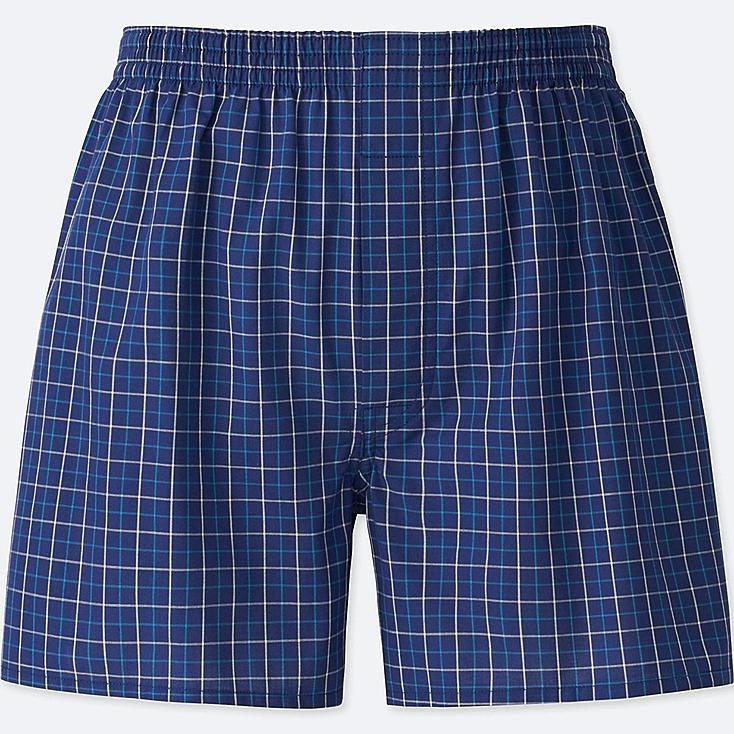 MEN WOVEN CHECKED BOXERS, NAVY, large