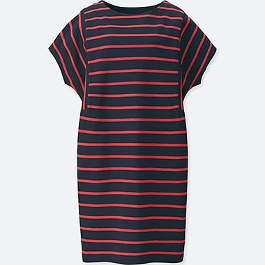 WOMEN COTTON STRIPED SHORT-SLEEVE DRESS, NAVY, medium
