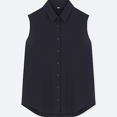 WOMEN RAYON SLEEVELESS BLOUSE, NAVY, medium
