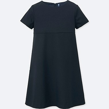 GIRLS CREWNECK SHORT-SLEEVE DRESS, NAVY, medium