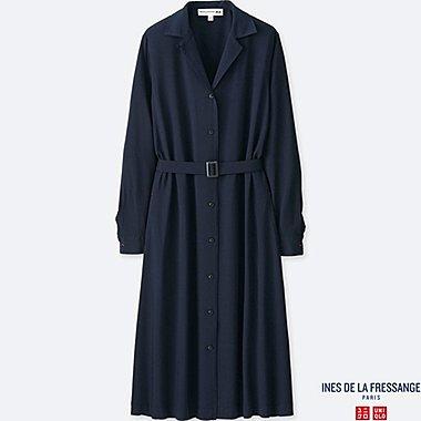 WOMEN IDLF RAYON SHIRT LONG-SLEEVE DRESS, NAVY, medium