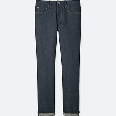 MEN STRETCH SELVEDGE SLIM-FIT JEANS, NAVY, medium
