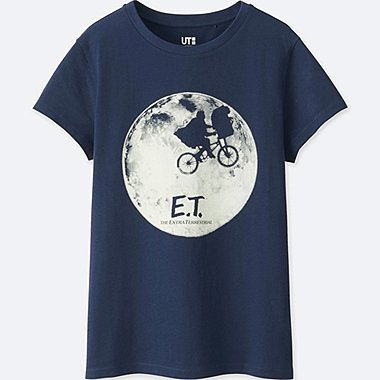 WOMEN Back to the 80s SHORT-SLEEVE GRAPHIC T-SHIRT (E.T.), NAVY, medium