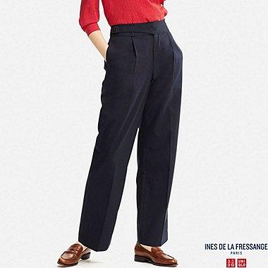 WOMEN IDLF WOOL-BLEND WIDE PANTS, NAVY, medium