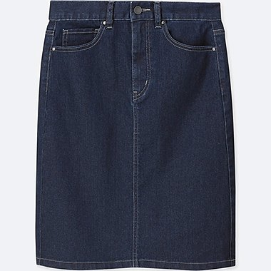 WOMEN HIGH-WAIST DENIM SKIRT, NAVY, medium