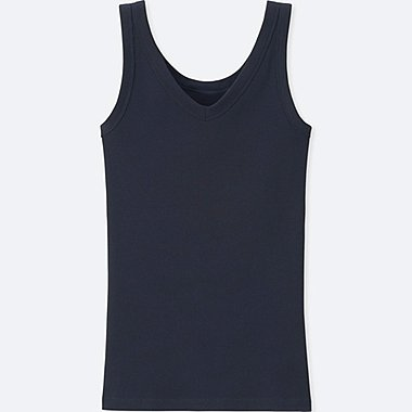 WOMEN SUPIMA® COTTON RIBBED TANK TOP, NAVY, medium