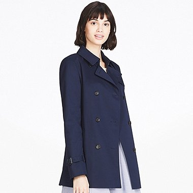 WOMEN SHORT TRENCH COAT, NAVY, medium