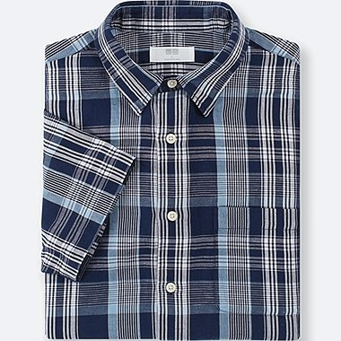 MEN LINEN COTTON CHECKED SHORT-SLEEVE SHIRT, NAVY, medium