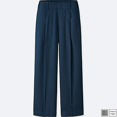 WOMEN U SATIN PLEATED PANTS, NAVY, medium