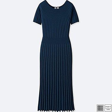 WOMEN U 3D CREWNECK BALLOON SHORT-SLEEVE DRESS, NAVY, medium