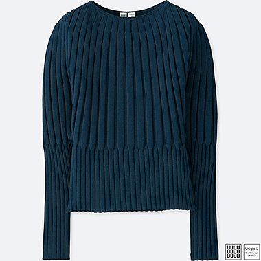 WOMEN U 3D RIBBED BALLOON CREWNECK SWEATER, NAVY, medium