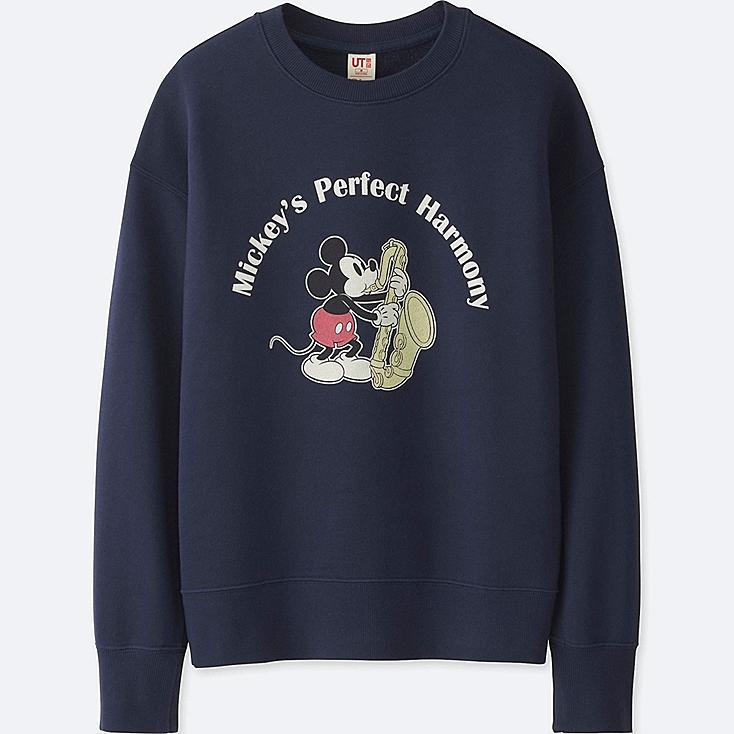 WOMEN SOUNDS OF DISNEY LONG-SLEEVE PULLOVER SWEATSHIRT, NAVY, large