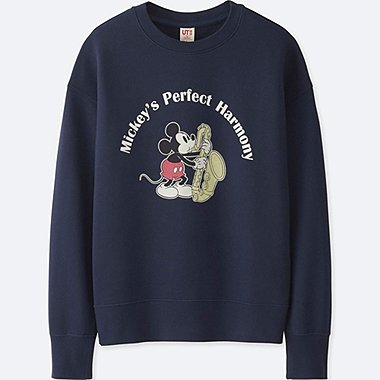 WOMEN SOUNDS OF DISNEY LONG-SLEEVE PULLOVER SWEATSHIRT, NAVY, medium