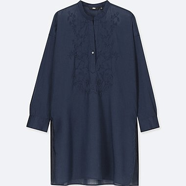 WOMEN COTTON EMBROIDERED LONG-SLEEVE TUNIC, NAVY, medium