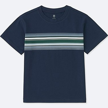 KIDS STRIPED CREWNECK SHORT-SLEEVE T-SHIRT, NAVY, medium