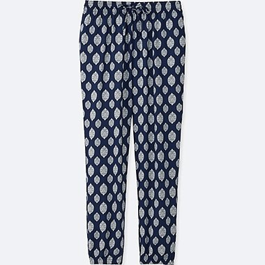 WOMEN DRAPE STAMP-PRINT PANTS, NAVY, medium