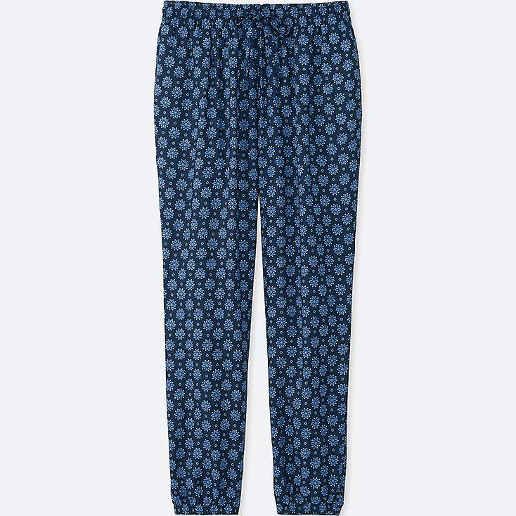 WOMEN DRAPE FLORAL-PRINT PANTS, NAVY, large