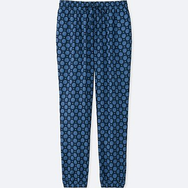 WOMEN DRAPE FLORAL-PRINT PANTS, NAVY, medium