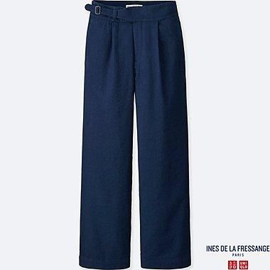 WOMEN IDLF COTTON LINEN TWILL PANTS, NAVY, medium