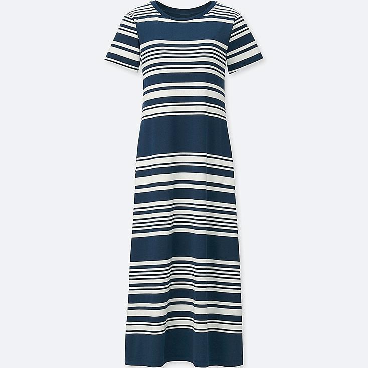 WOMEN STRIPED SHORT-SLEEVE LONG BRA DRESS, NAVY, large
