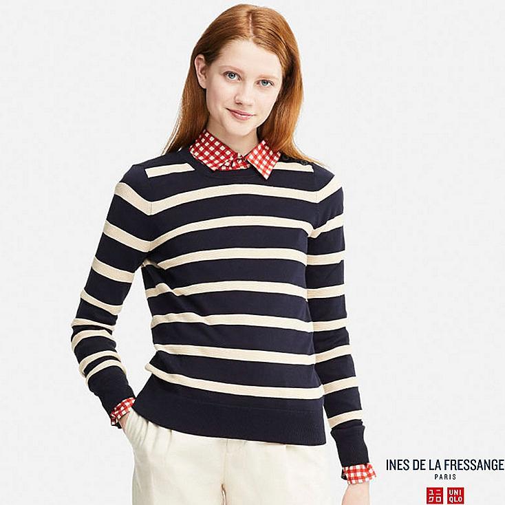 Women Idlf Supima Cotton Striped Sweater Uniqlo Us