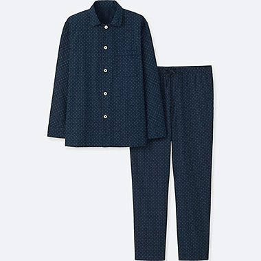 MEN LONG-SLEEVE PAJAMAS, NAVY, medium