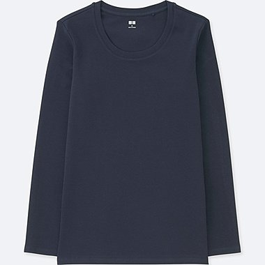 WOMEN COMPACT COTTON CREWNECK LONG-SLEEVE T-SHIRT, NAVY, medium