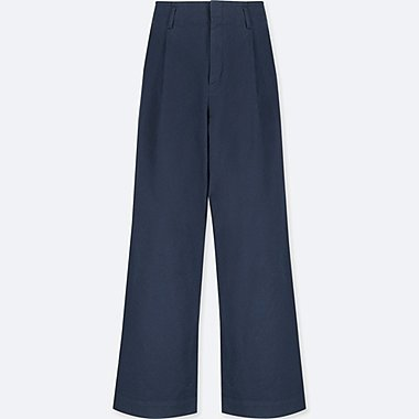 WOMEN HIGH WAIST CHINO WIDE LEG PANTS, NAVY, medium