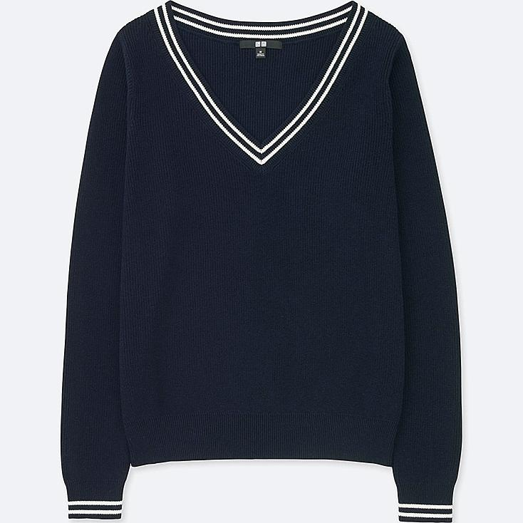 WOMEN COTTON CASHMERE MIDDLE GAUGE CRICKET SWEATER, NAVY, large