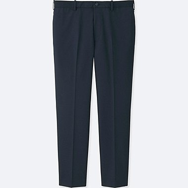 MEN RELAXED ANKLE-LENGTH PANTS (COTTON), NAVY, medium