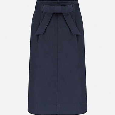 WOMEN HIGH-WAIST BELTED NARROW SKIRT, NAVY, medium