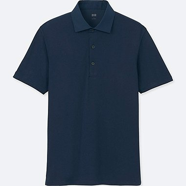 MEN AIRism POLO SHIRT, NAVY, medium