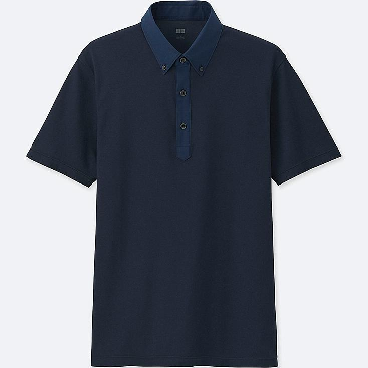MEN AIRism POLO SHIRT, NAVY, large