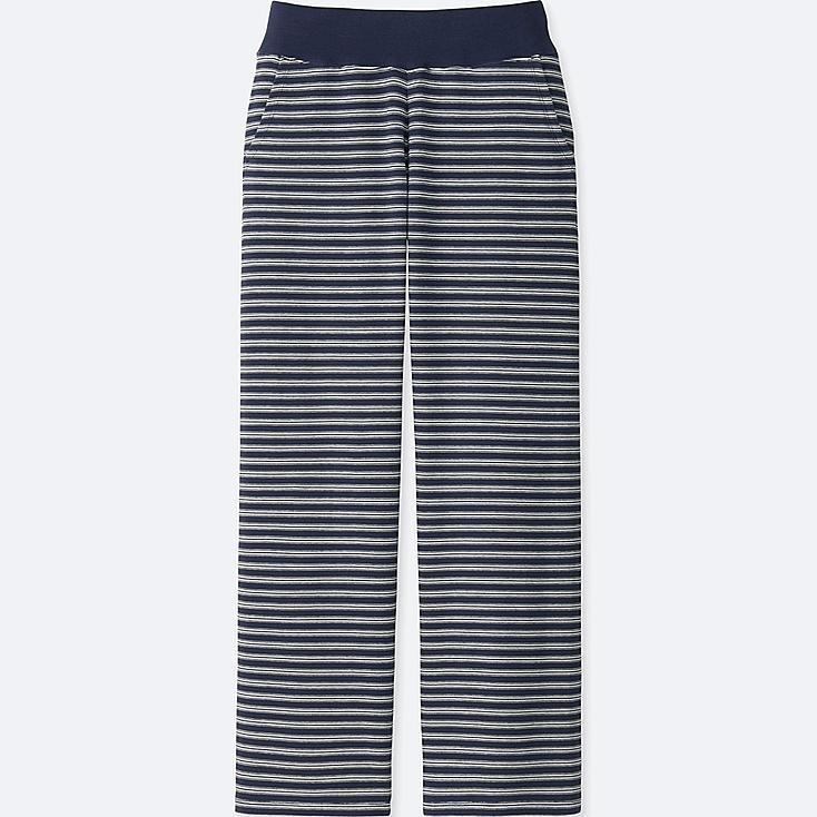 WOMEN ULTRA STRETCH STRIPE LOUNGE PANTS, NAVY, large
