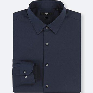 MEN EASY CARE STRETCH SLIM-FIT LONG-SLEEVE SHIRT, NAVY, medium
