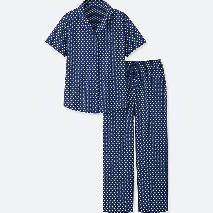 WOMEN COTTON STRETCH SHORT-SLEEVE PAJAMAS, NAVY, large