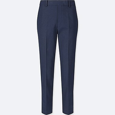 WOMEN SMART STYLE ANKLE-LENGTH PANTS, NAVY, medium