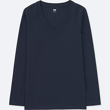 WOMEN COMPACT COTTON V-NECK LONG-SLEEVE T-SHIRT, NAVY, medium